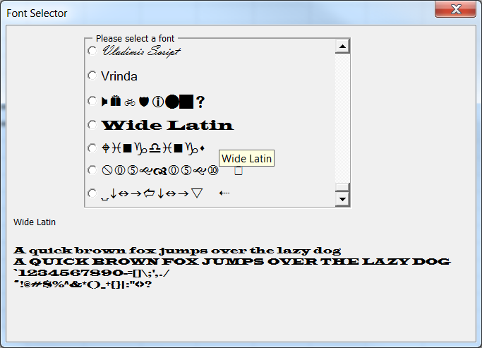 The Control Tool Tip Shows Font Name In English See Wide Latin A Sample Of How Every Keyboard Character Will Look That Appears
